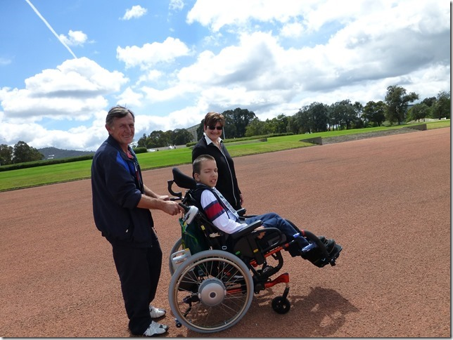 Son in wheelchair